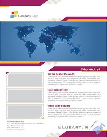دانلود قالب لایه باز کاتالوگ تک صفحه ای-world business flyer