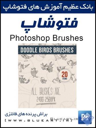 براش فتوشاپ پرنده های فانتزی brushes doodle birds