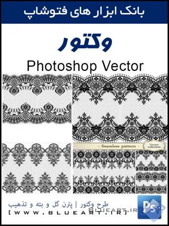 دانلود وکتور پترن های اسلیمی و تذهیب Lace black seamless pattern