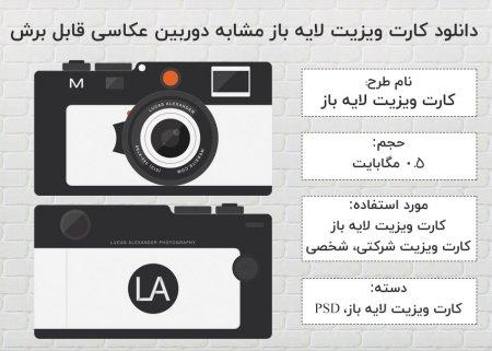 دانلود کارت ویزیت لایه باز مشابه دوربین عکاسی قابل برش