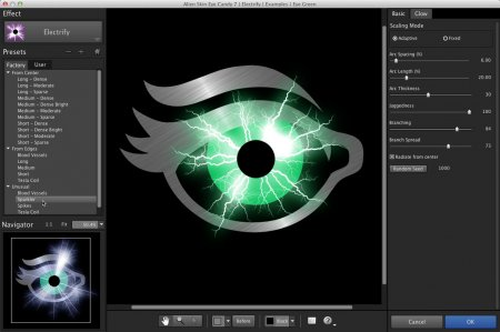 رابط کاربری پلاگین Alien Skin Eye Candy